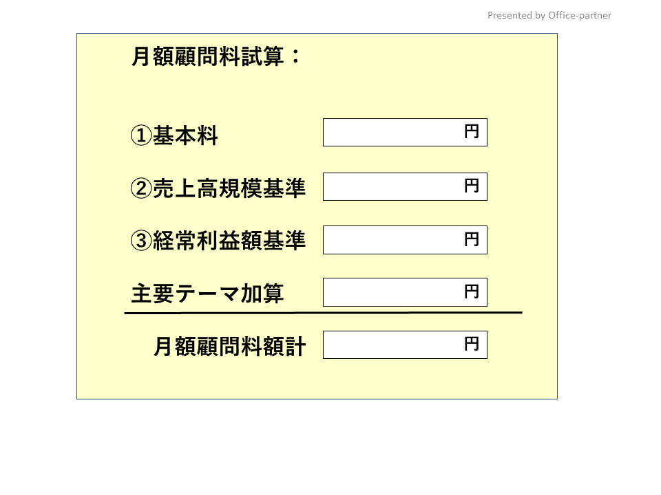 Officeパートナー:コンサルティング顧問料料金表
